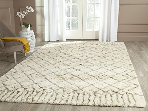 Safavieh Casablanca Shag Collection CSB894A Handmade Ivory and Green Premium Wool & Cotton Area Rug (8' x (Green Ivory Rug)