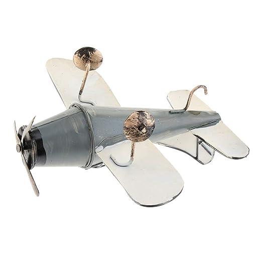 Blesiya Retro Metal Airplane Model Biplane Military Aircraft Home Decor Toy