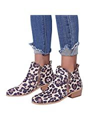 Yuxikong Women's Ankle Bootie, Knight Ladies Suede Zipper Martin Boots Shoes