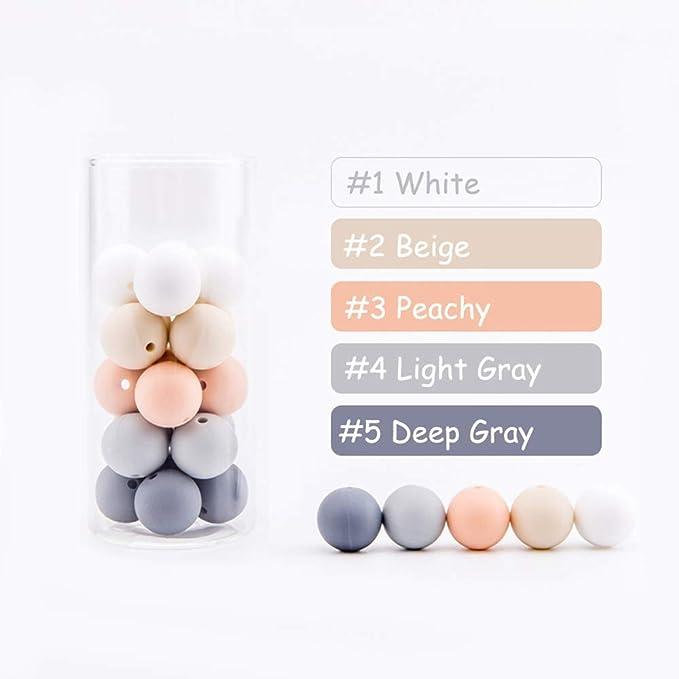 Colliers Dallaitement lets make Perles de Silicone pour la Dentition Bracelets Perles /à Croquer sans BPA de Qualit/é Alimentaire pour Dents 12mm 50pc Fabrication de Bijoux perles