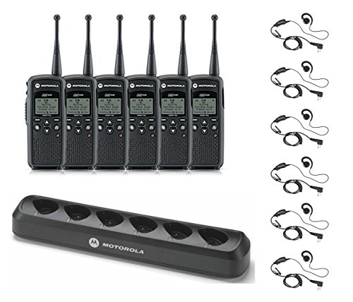 6 Pack of Motorola DTR550 Radios with 6 Push To Talk (PTT) earpieces and a 6-Bank Radio Charger by Motorola