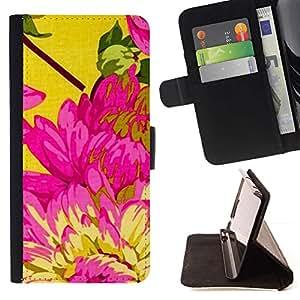 Momo Phone Case / Flip Funda de Cuero Case Cover - Amarillo Rosa floral de la primavera Pétalo - Apple Iphone 5C