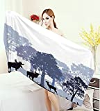homecoco Moose Highly Absorbent Bath Towel Forest Design Abstract Woods North American Wild Animals Deer Hare Elk Trees Yoga Mat Towel Black White Grey