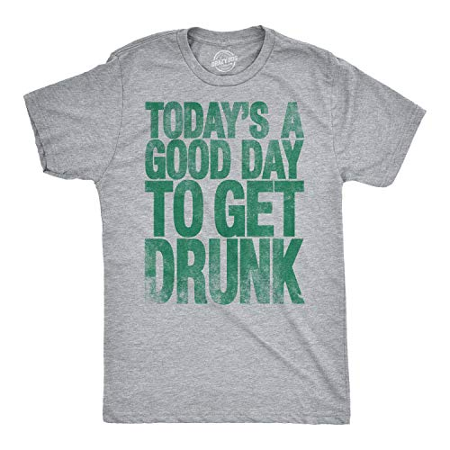 (Crazy Dog T-Shirts Mens Good Day to Get Drunk Funny Drinking Beer St. Patrick's Day T Shirt (Heather Grey) L)