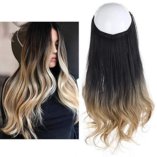 Ombre Hair Extension Black Ash Blonde Bayalage Long 16