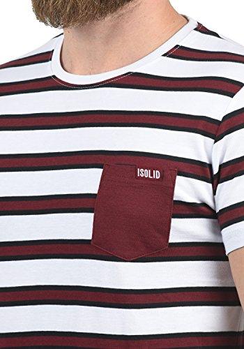 Halsausschnitt T 100Baumwolle Shirt Gestreiftes mit weinrot0985 Solid Herrenhemd Salu Kurzarm Gestreiftes rundem 2H9IDWEY