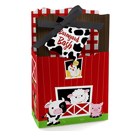 Farm Animals - Baby Shower or Birthday Party Favor Boxes - Set of 12 (Black Case Zenon)