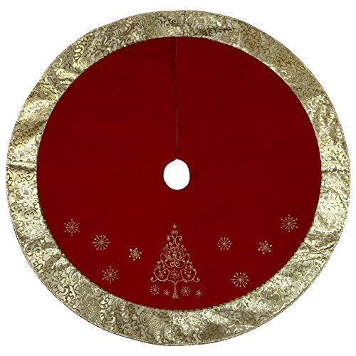 """Alice Doria 48""""Red and Gold Christmas Tree Skirt with Embroidery and Beaded Christmas Tree"""