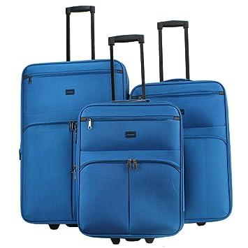 Alexander Set 3Pcs Maleta de Viaje Equipaje Avión Extensible Maleta Blanda con Asa Telescópica 2 Ruedas Giratorias 6 Colores 3 Tamaños (Azul, ...