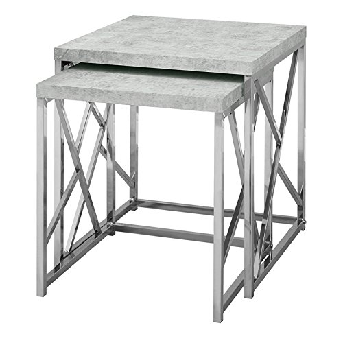 Monarch I 3376 Nesting Table-2Pcs Set/Grey Cement with Chrome Metal by Monarch