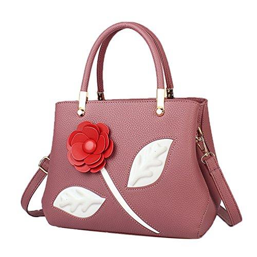 ZKOO Mujeres Rose Bolso de Mano De PU Cuero Elegante Bolsas Del Hombro Tote Bolsas Rojo
