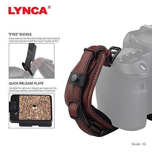 Lynca DSLR Camera Leather Wrist Strap Comfort Padding with Quick Release Plate, Superior Hand Grip Stability and Security | for All DSLR SLR and Digital Cameras ()
