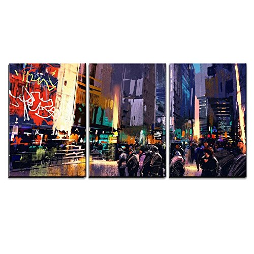 Illustration Crowd of People in City Street Colorful Painting x3 Panels