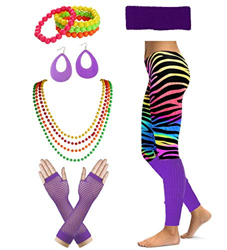 Women's 80's Party Neon Running Workout Costume Set (Large, Purple) -