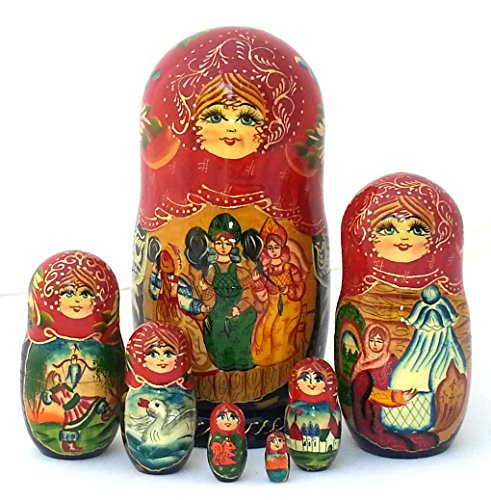 Nesting dolls Russian Hand Carved Hand Painted 7 piece Set / Tsar Saltan fairy tale