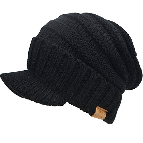 Mens Slouch Fleece Winter Visor Beanie Knit Cap Hat Oversized B319 (Black) (Fleece Beanie Visor)