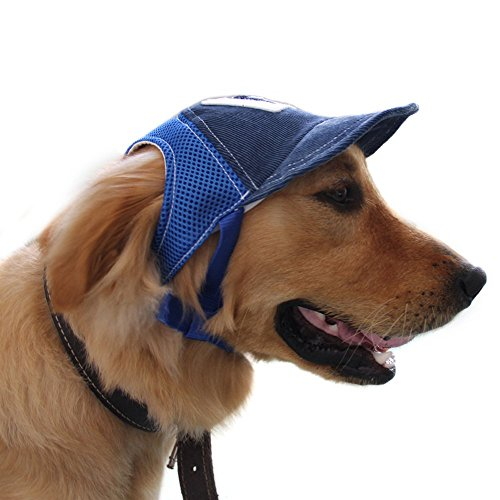 Pet Dog Baseball Cap Sport Cap Hat - Outdoor Hat Sun Protection Summer Cap for Small Medium Large Dog (Large Cap, Blue) Baseball Hats For Dogs