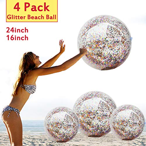 "4 Pcs Sequin Beach Balls Jumbo Pool Toys Balls for Kids Adult Pool Party Favors Ball for Outdoor Indoor Summer Water Fun Toys Confetti Holographic Glitter Beach Ball Inflatable (2 Pcs 24"" + 2 Pcs 16"")"