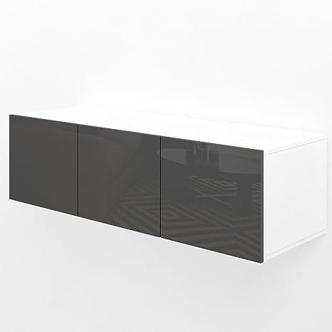 Sideboard hängend modern  TV Lowboard 120cm Anthrazit Hochglanz Sideboard Wandschrank ...