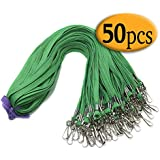 Green Lanyard Clip Swivel Hook Bulk 50 Pack 33-Inch Badge Lanyards with Clip Lanyards by Bulk Office Neck Flat Cotton Lanyard with Badge Clip Green lanyards for id Badges Key Chains