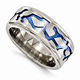 Edward Mirell Titanium with Blue Anodized Brushed and Polished 9mm Wedding Band - Size 13