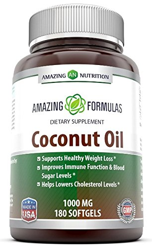 Amazing Nutrition Coconut Oil Capsules, 1000 Mg Per Softgels Dietary Supplement, 180 Softgels