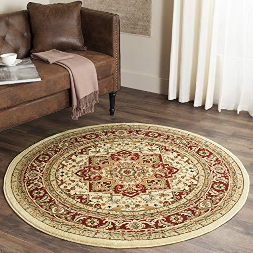 Oriental Circular Rug Red Border, Ivory Green Floral Scroll Motif Round Carpet Central Medallion, Indoor Elegant Circle Area Rug Accent Mat for Livingroom Diningroom Bedroom, 5'3