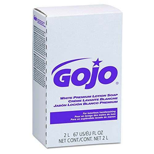 GOJO NXT White Premium Lotion Soap, Spring Rain Fragrance, 2000 mL EcoLogo Certified Soap Refill for NXT Push-Style Dispenser (Case of 4) - 2204-04
