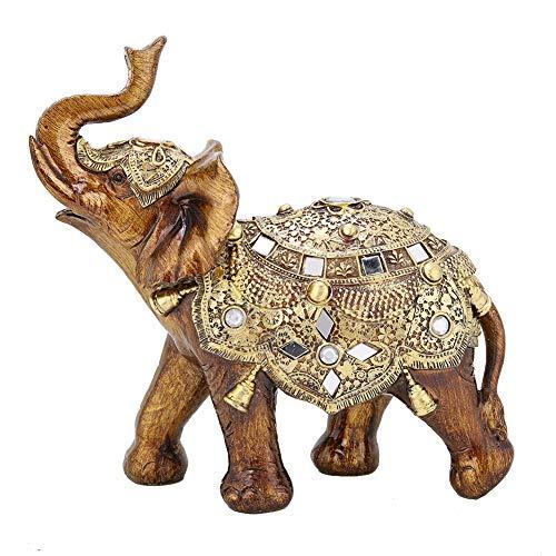 Vintage Elephant Sculpture Auspicious Exquisite Resin Animal Figurine Statue Setting for Home Office Coffee Shop Decoration(2#) (Resin Sculpture Elephant)