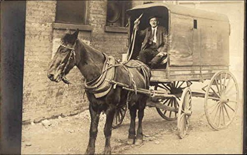 Man in a Delivery Wagon Horse Drawn Original Vintage (Drawn Delivery Wagon)