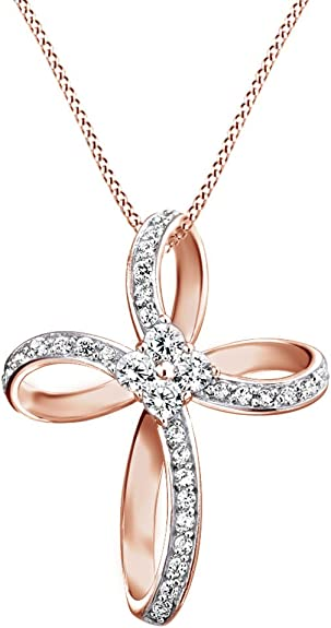 Infinity Cross Pendant with Cubic Zirconia in Sterling Silver