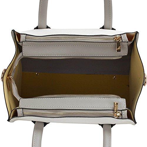 TrendStar - Bolso de asas de piel sintética para mujer negro A - Black E - Grey/White