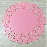 Lautechco® 10pcs Silicone Table Mat Durable Round Non-Slip Heat Resistant Mat Coaster Cushion Hollow Silicone Placemat (Pink)