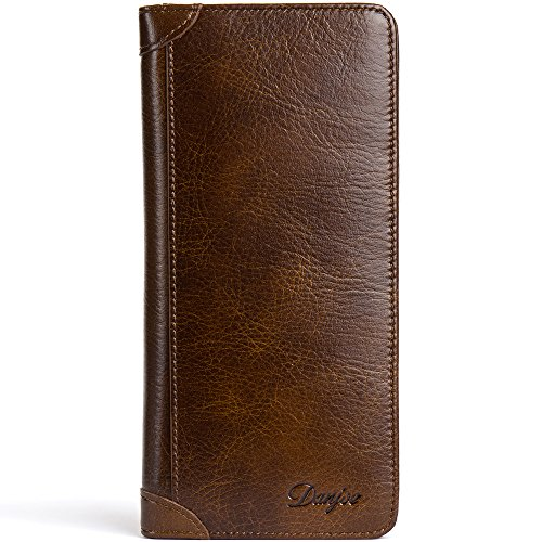 Bifold Cash Brown Card Case DANJUE Men's Leather Wallet long Holder Genuine gvxAq8