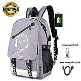 Anime Luminous Backpack Noctilucent School Bags Daypack USB chargeing port Laptop Bag Handbag For Boys Girls Men Women (Anime Luminous Backpack for Grey)