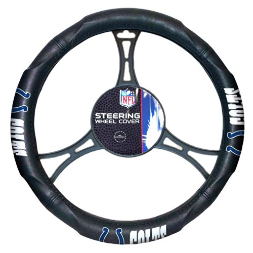NFL Indianapolis Colts Steering Wheel Cover, Black, One Size