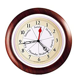 DayClocks Combination Analog Wall Clock - Time of Day and Day of the Week Wall Clock - Unique Kitchen Wall Clock -- Walnut Accent Frame