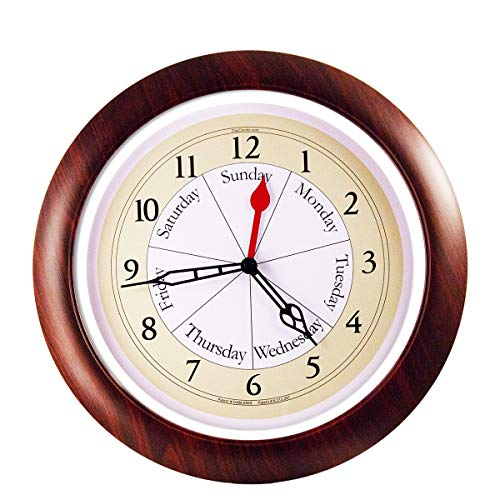 (DayClocks Combination Analog Wall Clock - Time of Day and Day of the Week Wall Clock - Unique Kitchen Wall Clock -- Walnut Accent Frame)
