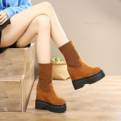 khskx-high Heeled Shoes con el aumento en crudo Stealth plataforma zapatos y botas de llevar dos botas de lana de cachemir cálido amarillo