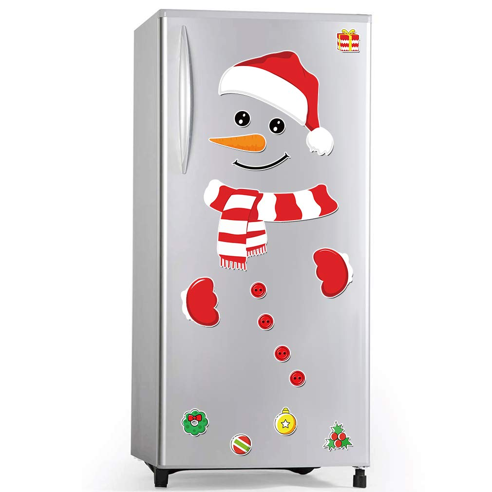 Christmas Home Decorations Snowman Refrigerator Magnets for Garage Door, Hat Button Scarf Cartoon Festival Home Decor Metal Door Art Wall Garage Refrigerator Cabinet Unisex Gifts for Adults Kids,17 PC