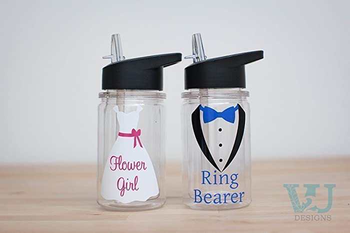 Ring Bearer Gift Flower Girl 10 Oz Custom Water Bottle Wedding Party