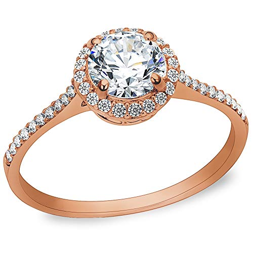 - Jude Jewelers 3.75CT Stainless Steel Solitaire Engagement Ring Propose Wedding Anniversary Statement (Rose Gold, 4.5)
