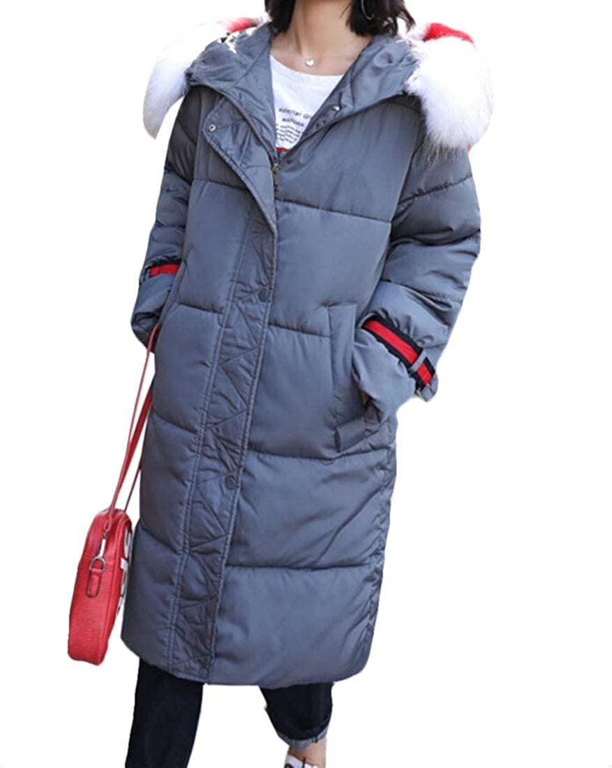 Gery Esast Women's Thick Faux Fur Hood Long Down Coats Winter Outwear