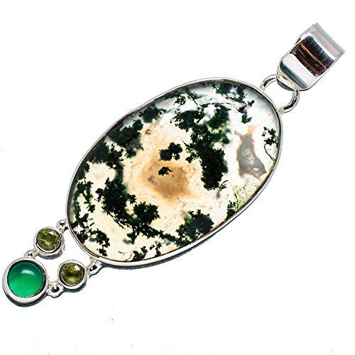 Green Moss Agate, Green Onyx, Peridot Pendant 2 1/8
