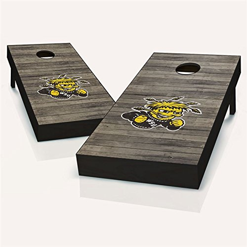 Floating Pong Wichita State Distressed Cornhole Set, 2x4 ACA, Wood, Handmade, Portable, FREE Team Logo Bags Included
