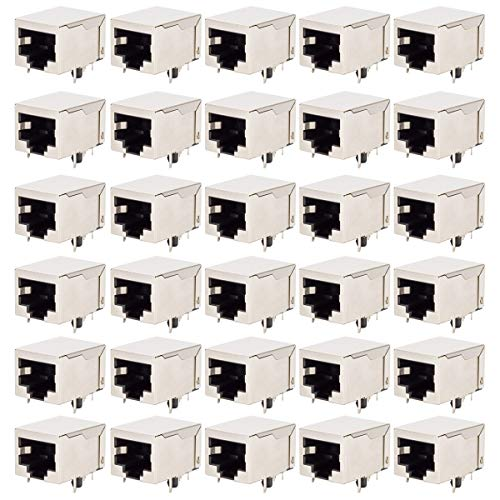- DIYhz 30Pcs RJ45 Shielded 8 Pins Network Modular Connector PCB Jacks Sockets - Long