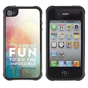 """Pulsar iFace Series Tpu silicona Carcasa Funda Case para Apple iPhone 4 / iPhone 4S , Cita de la diversión de la historieta de motivación imposible"""""""