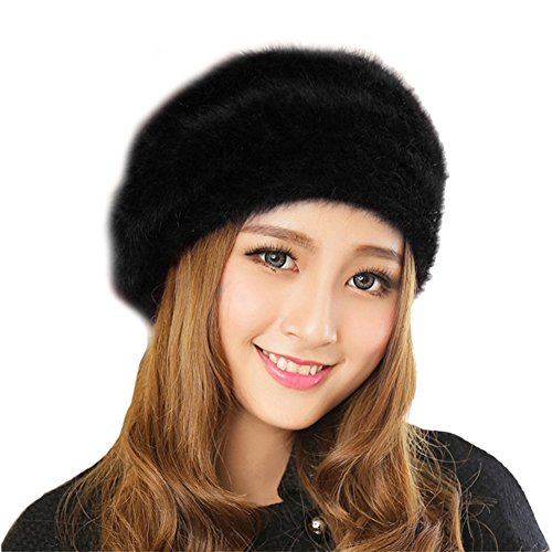 Queenshiny Women's Super Soft Angora Classic Pure Beanie Berets Cap Hat-Black