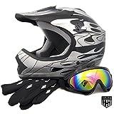 HHH DOT Youth & Kids Helmet for Dirtbike ATV Motocross MX Offroad Motorcyle Street bike Matte Black, Black Camo, Black Flame + WITH FREE GLOVES AND GOOGLES (Medium, Black Flame)