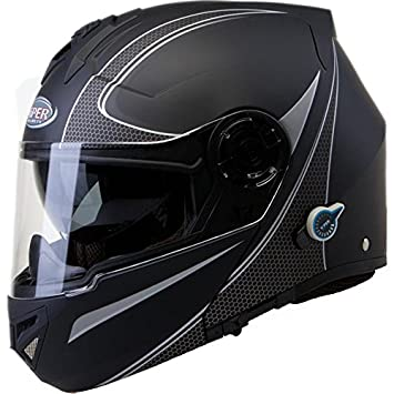 Viper RS-V151 Flash Bluetooth Mentonera Deslizante Casco De Moto - Negro Mate, Medium